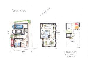 亀岡市 新築一戸建 スキップフロアーのある家 手書き間取り図50